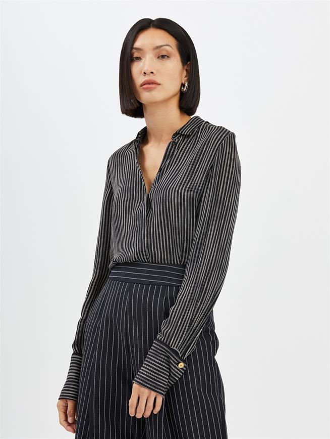 Double Pinstripe Blouse Black/Ivory