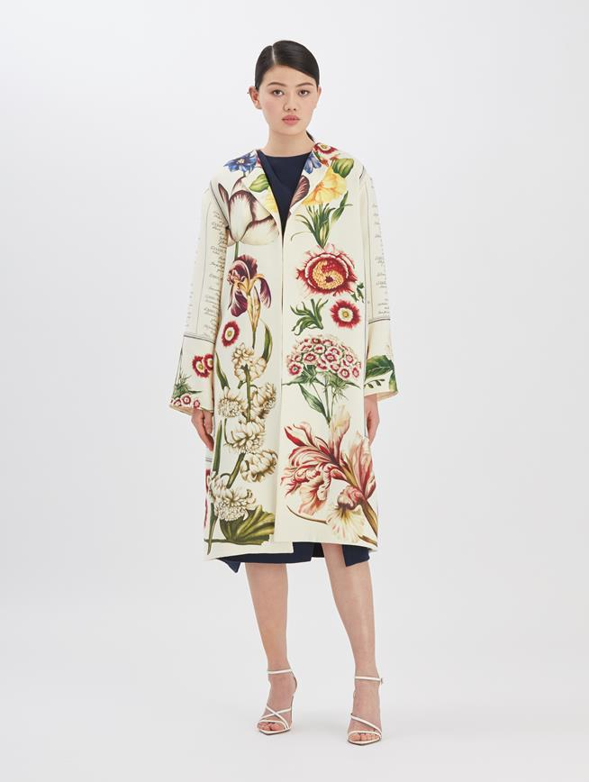 Floral Calligraphy Coat Ecru Multi