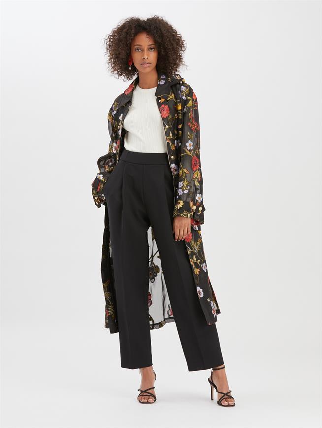 Botanical Fil Coupé Coat Black Multi