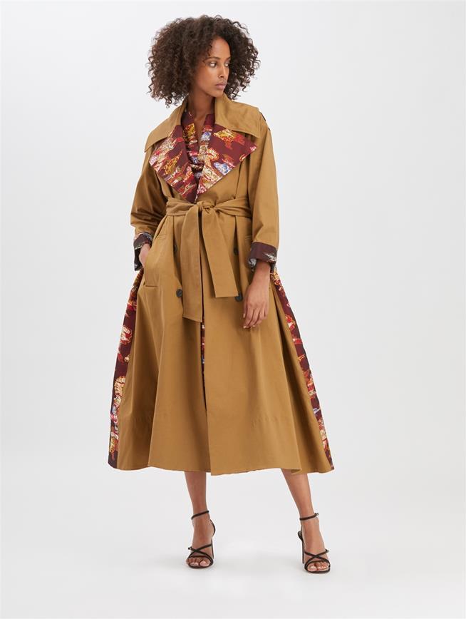Fil Coupé Trench Coat Camel