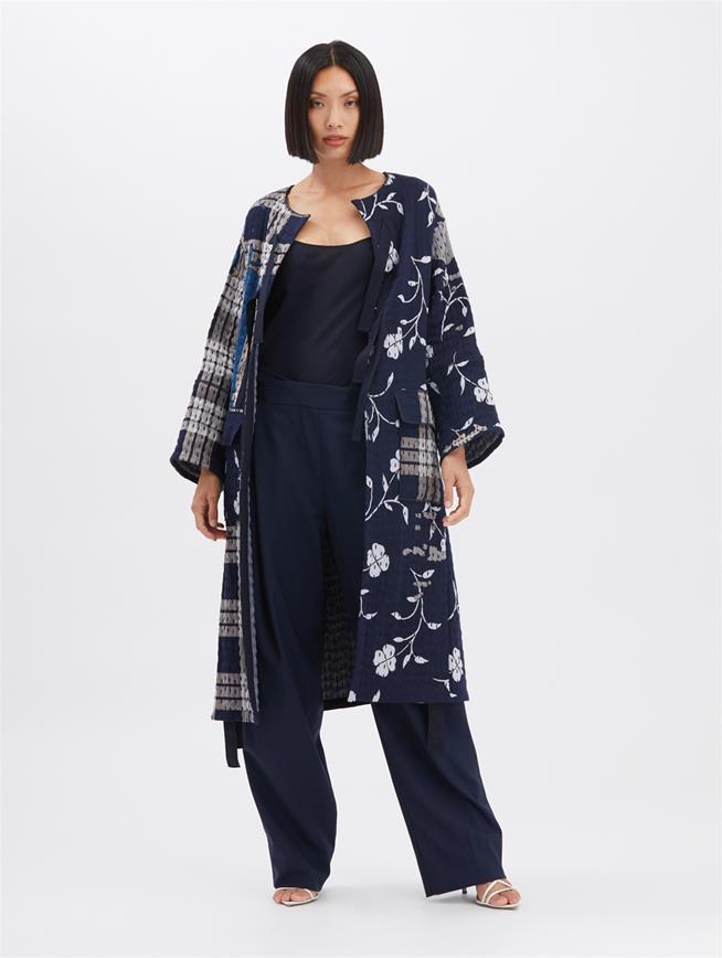 Boro Jacquard Coat Indigo
