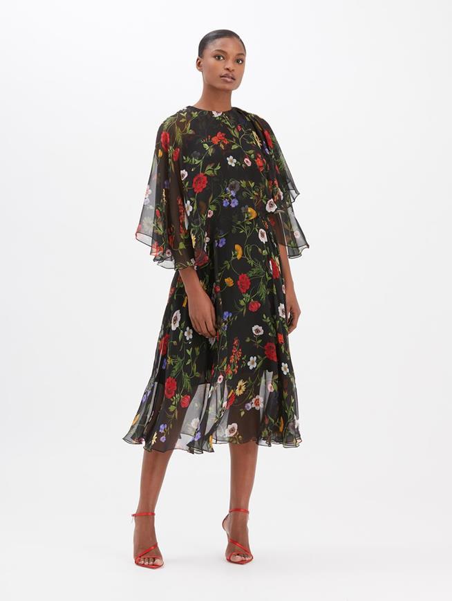 Botanical Chiffon Dress Black Multi