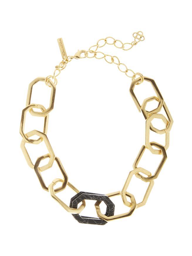 Octagon Link Necklace Black Onyx