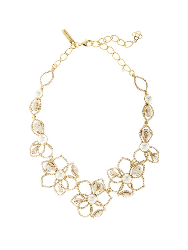 Pavé Petal Necklace Gold