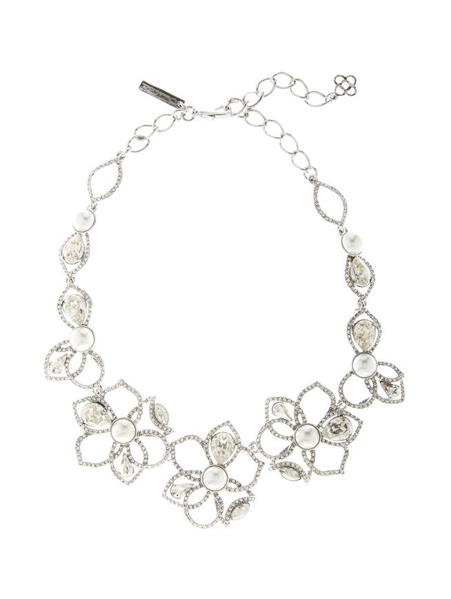 Pavé Petal Necklace Antique Silver