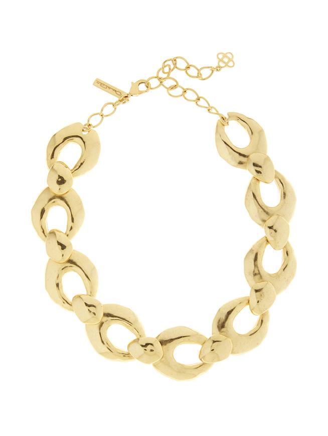 Hammered Link Necklace Gold