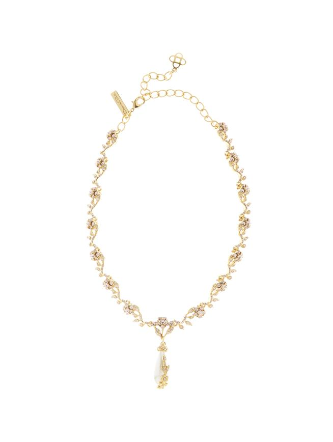 Jeweled Pearl Necklace Gold