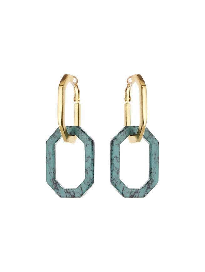 Octagon Link Earrings Turq Howlite
