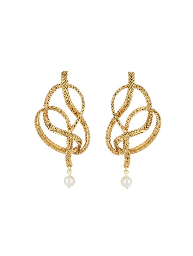 Braided Chain Earrings Gold