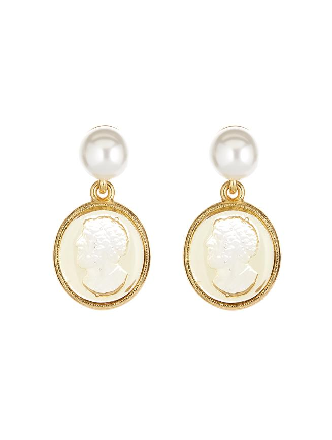 Cameo Charm Earrings Gold