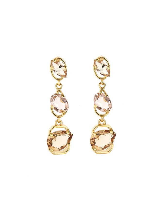 Crystal Offset Earrings Multi