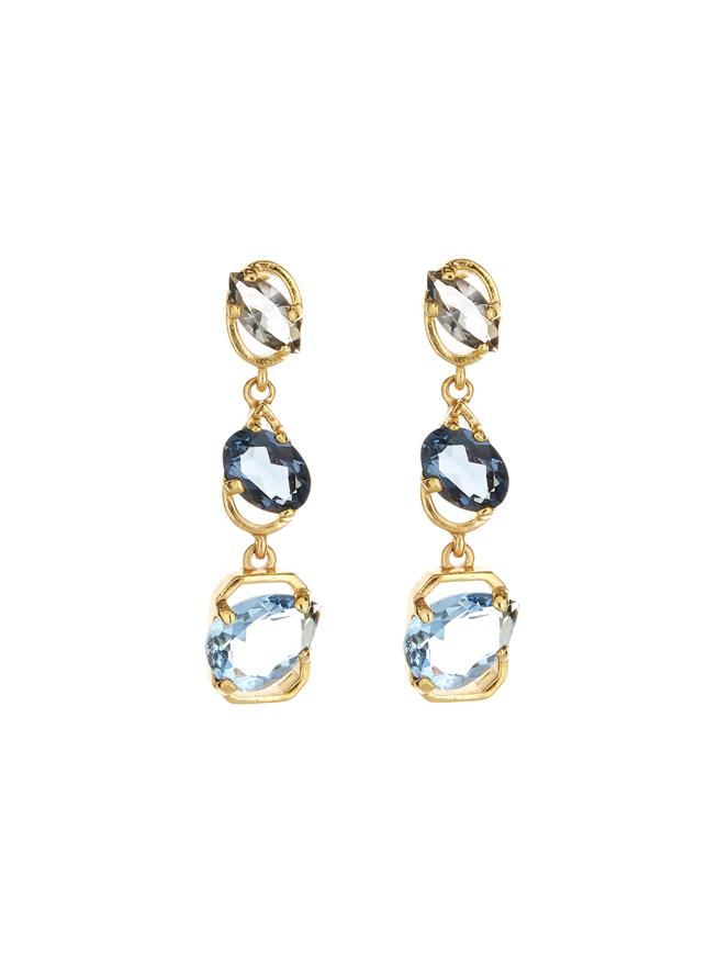 Crystal Offset Earrings Navy Multi