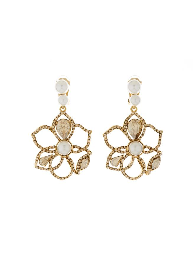 Pavé Petal Earrings Gold