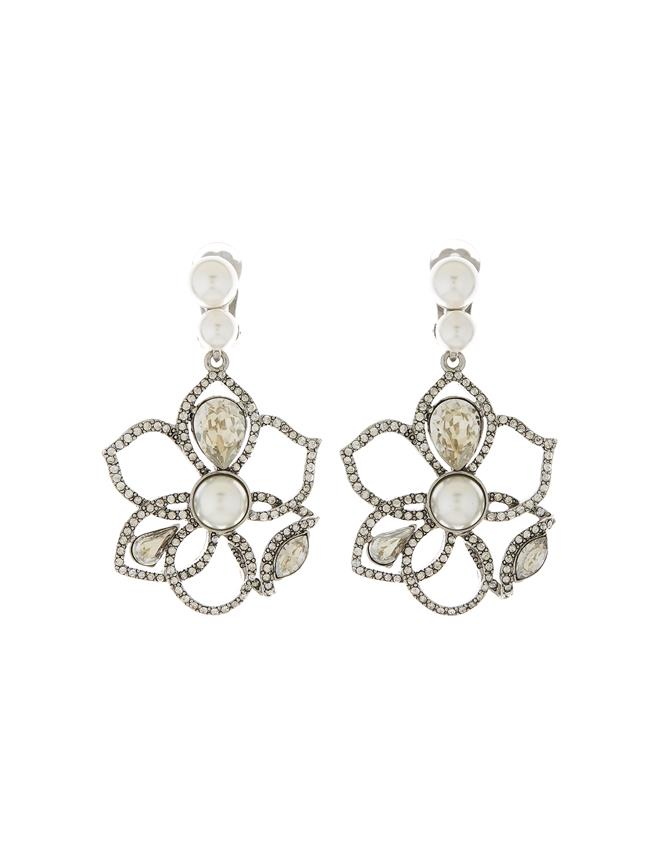 Pavé Petal Earrings Antique Silver