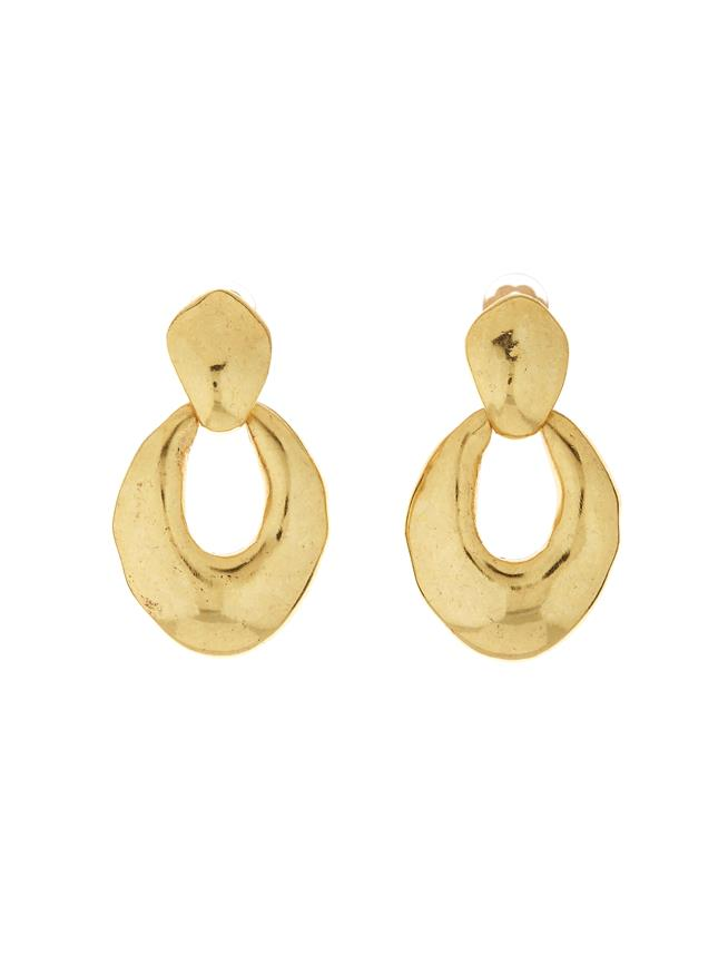 Hammered Link Earrings Gold