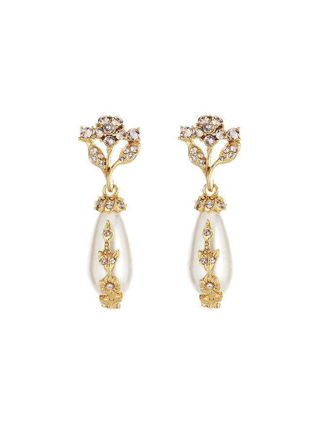 Jeweled Pearl Earrings Gold