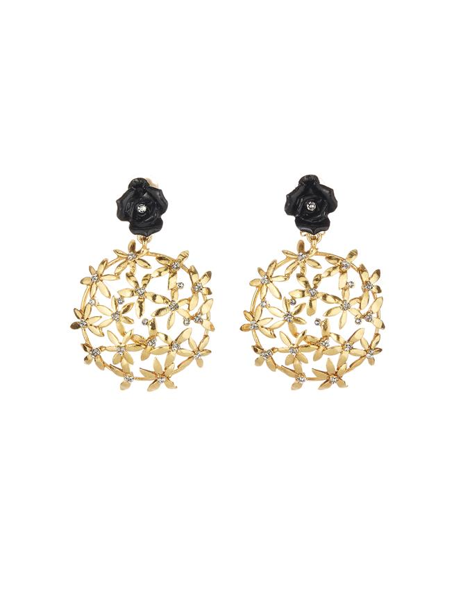 Rose Flower Earrings Black