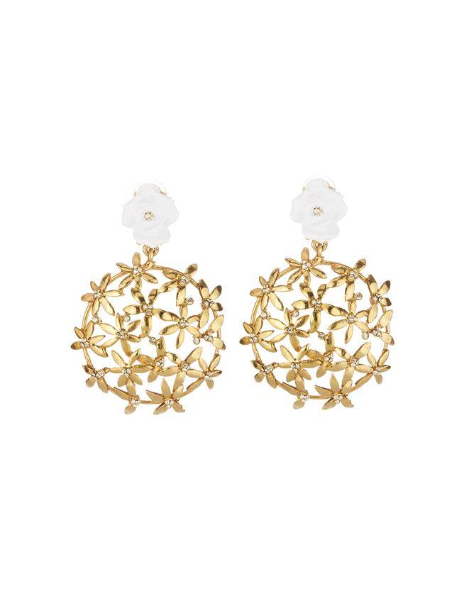 Rose Flower Earrings White