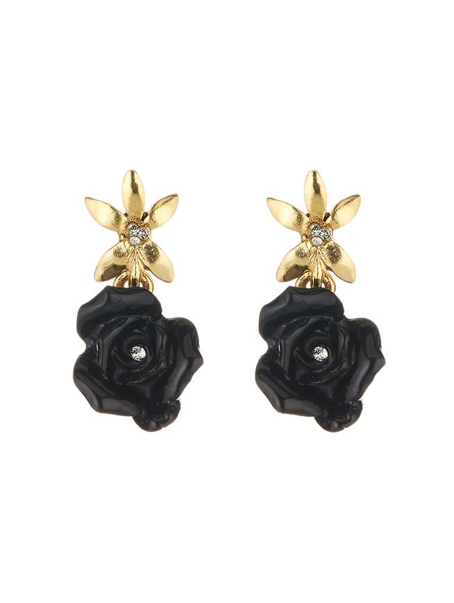 Rose Earrings Black