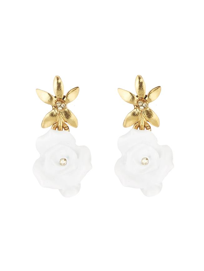 Rose Earrings White
