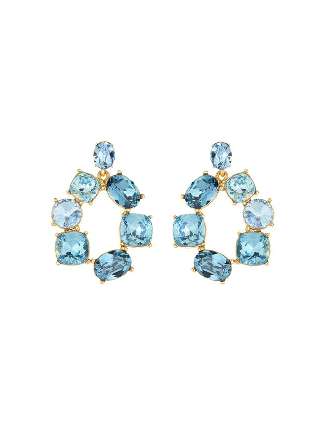 Bold Crystal Earrings Blue Multi