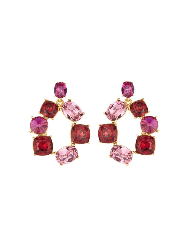 Bold Crystal Earrings Red Multi