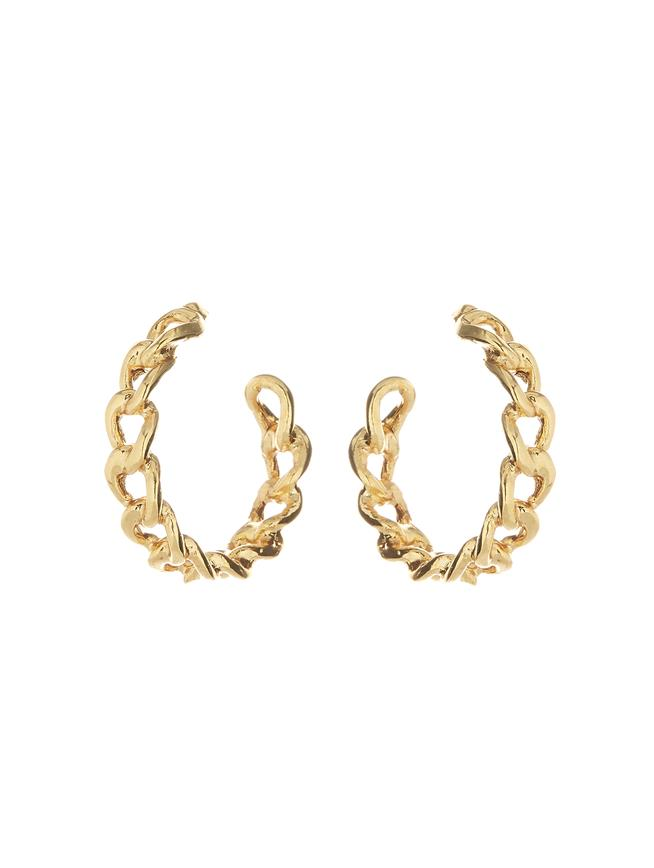 Chain Hoop Earrings Gold