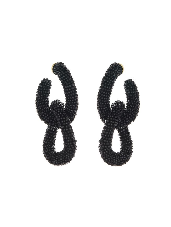 Beaded Link Earrings Black