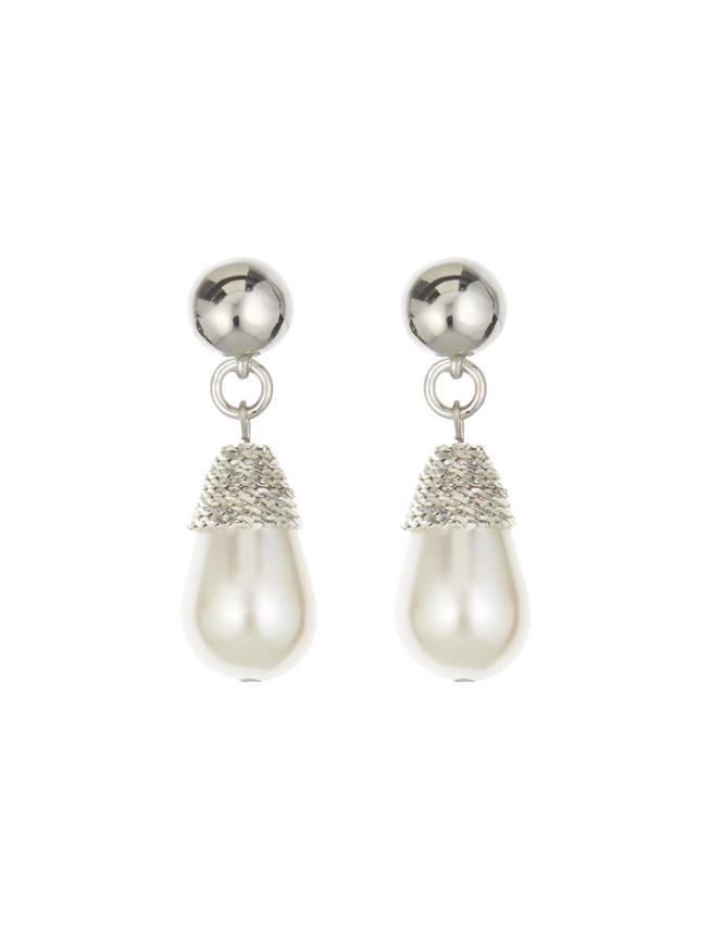 Wrapped Pearl Earrings Silver