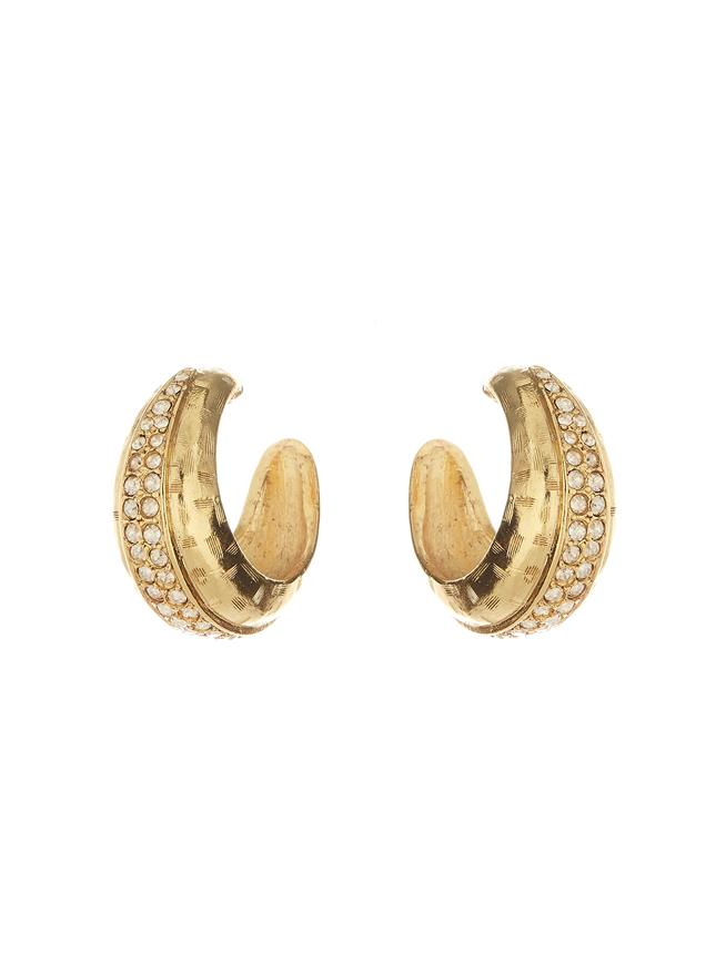 Pavé Hoop Earrings Cry Gold Shadow