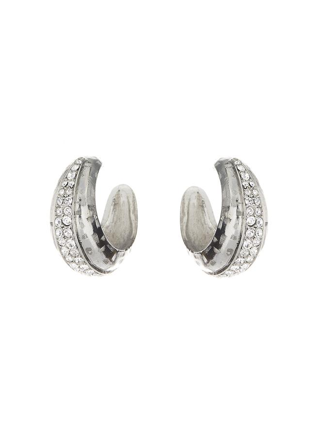 Pavé Hoop Earrings Crystal