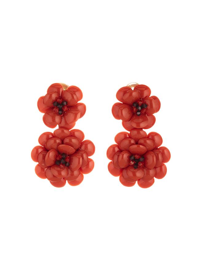 Resin Flower Earrings Poppy