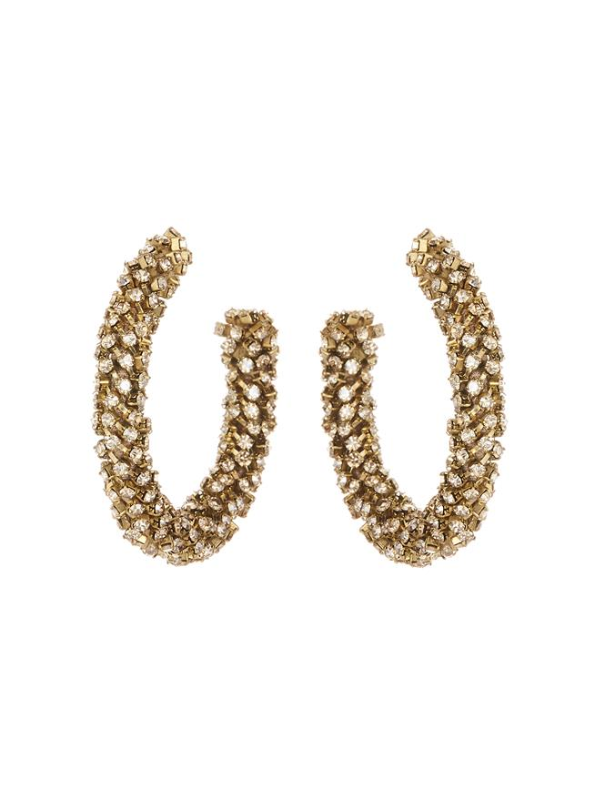 Crystal Hoop Earrings Cry Gold Shadow