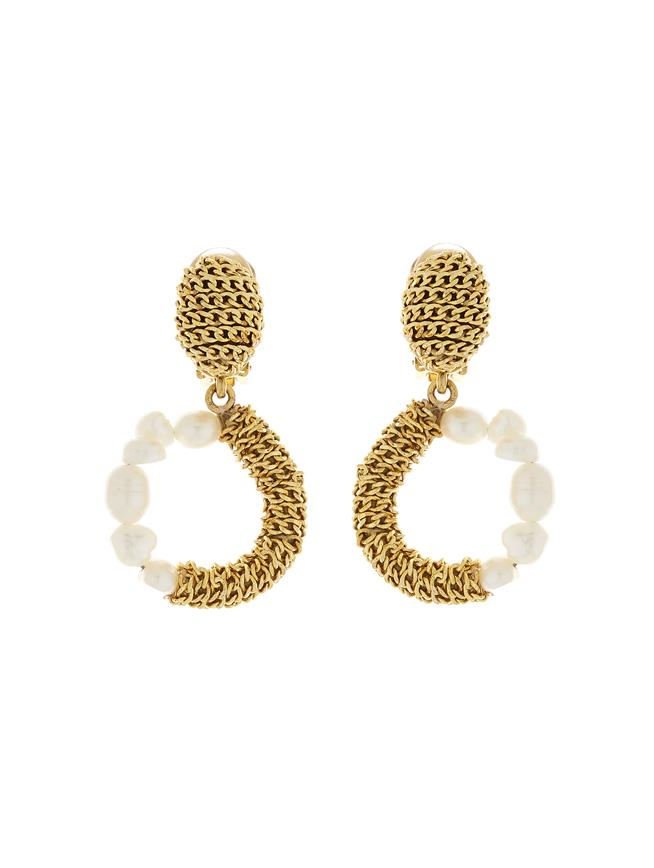 Chain and Pearl Earrings Gold