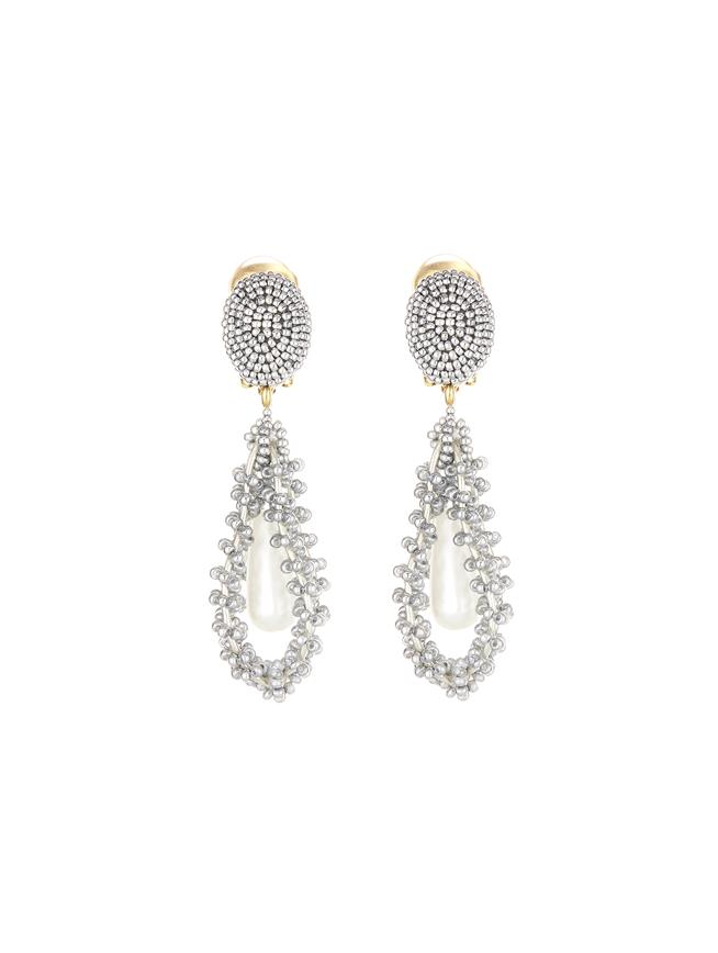 Embroidered Earrings Silver