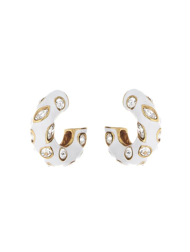 Crystal Hoop Earrings White