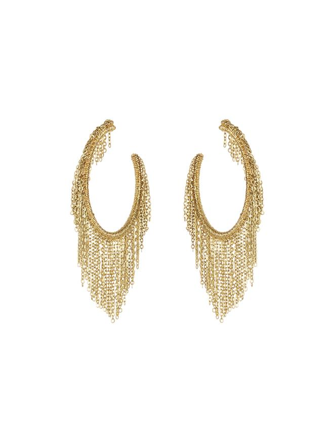 Fringe Hoop Earrings Gold