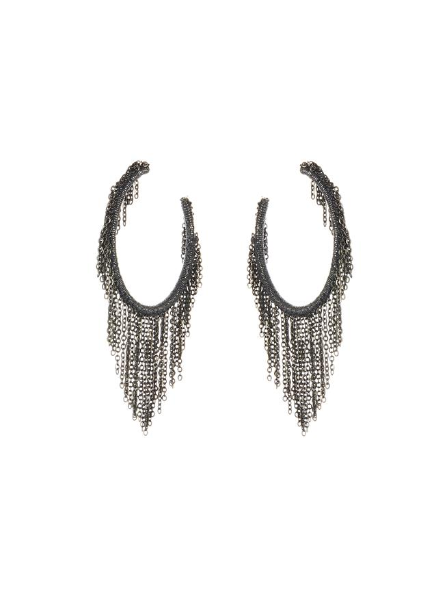 Fringe Hoop Earrings Gunmetal