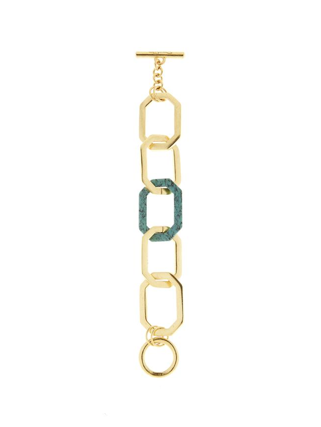 Octagon Link Bracelet Turquoise Howlite