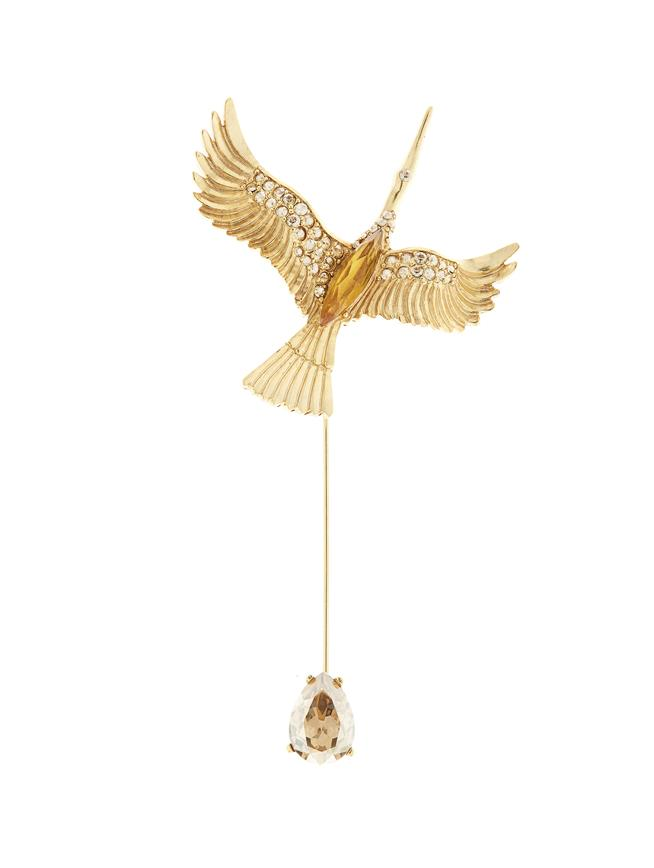 Crane Brooch Cry Gold Shadow