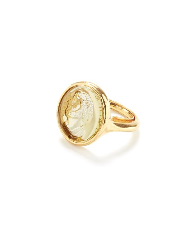 Cameo Charm Ring Gold