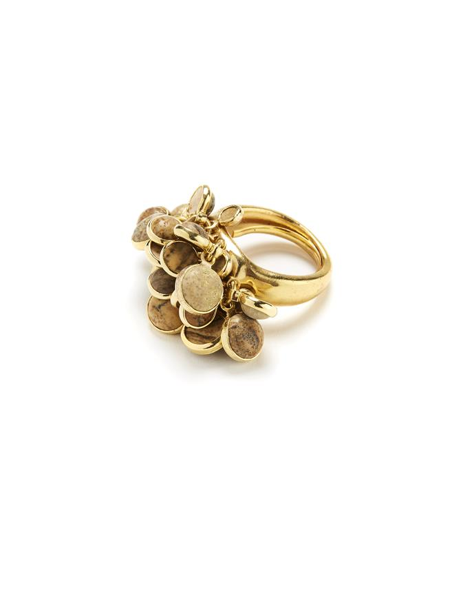 Cluster Ring Beige Jasper