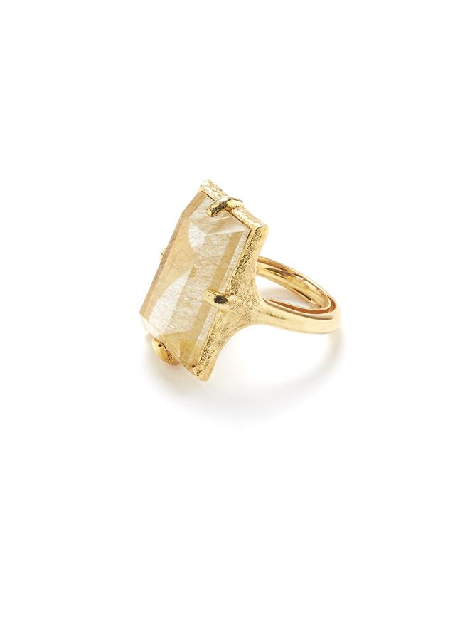 Rutilated Quartz Ring Gold