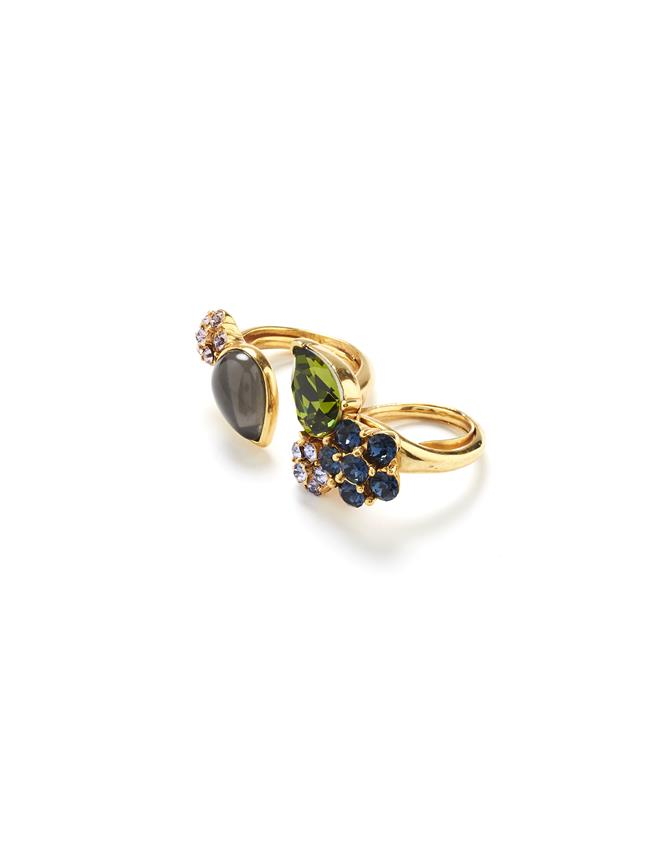 Crystal and Cabochon Ring Navy
