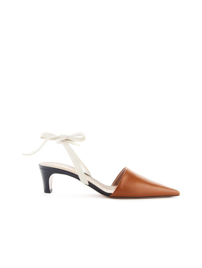 Leather Bow Mules Black