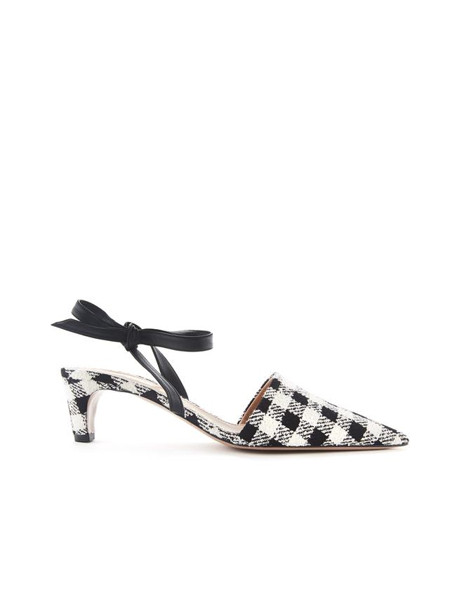 Gingham Bow Mules Black/White
