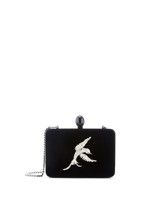 Embroidered Rogan Clutch Black
