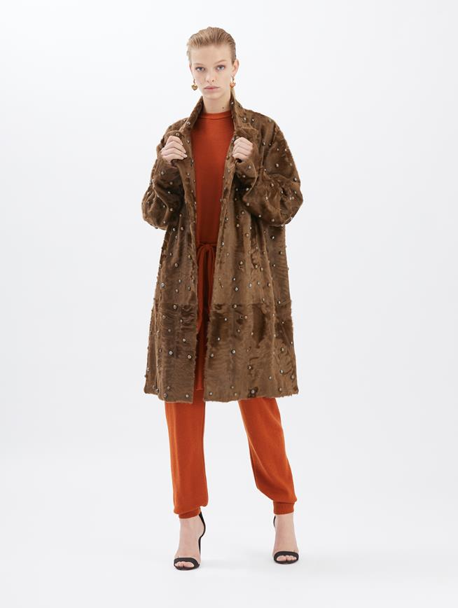 Embroidered Lamb Coat Espresso