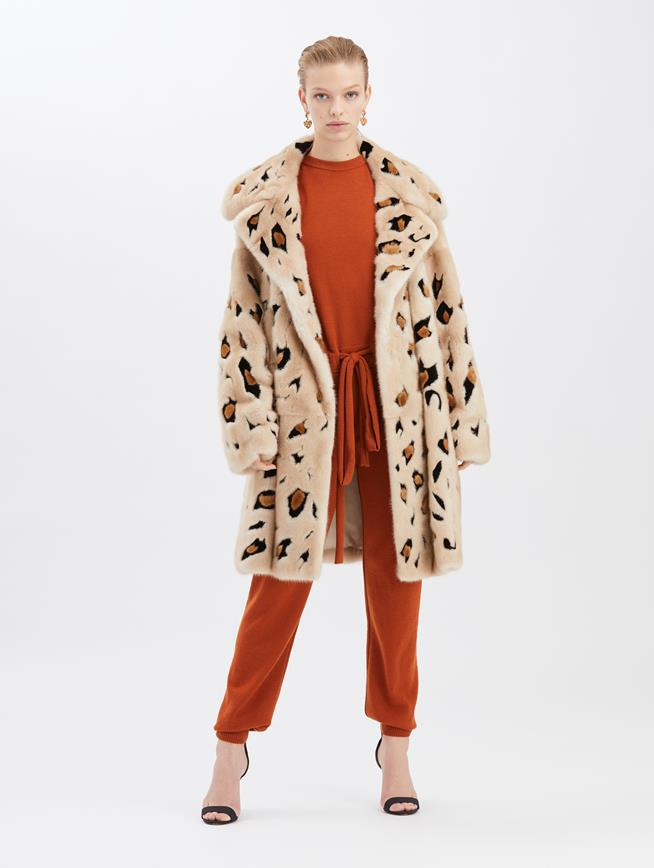 Palomino Mink Coat Beige, brown and black