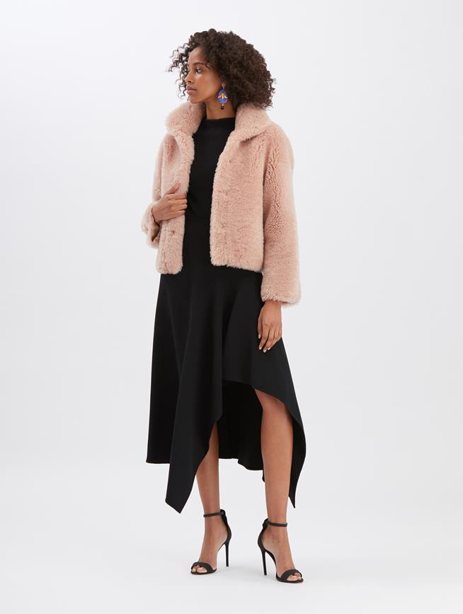 Shearling Cropped Jacket Blush